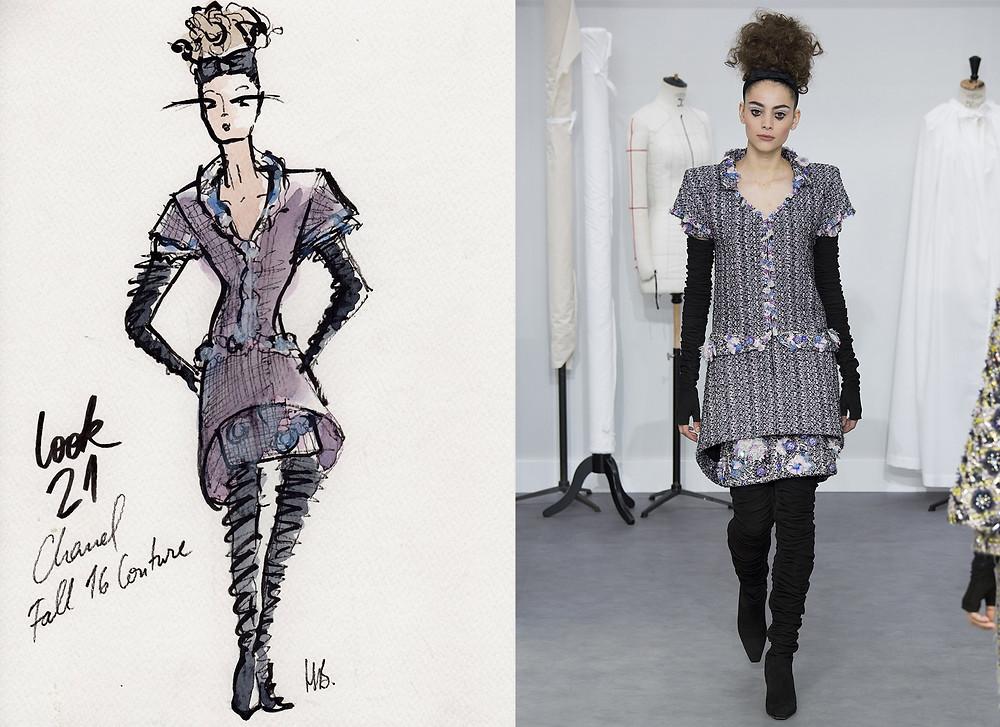 Chanel Haute-Couture Hiver 2016, Fall 2016, Look 21, Paris, Habile Buston Illustration