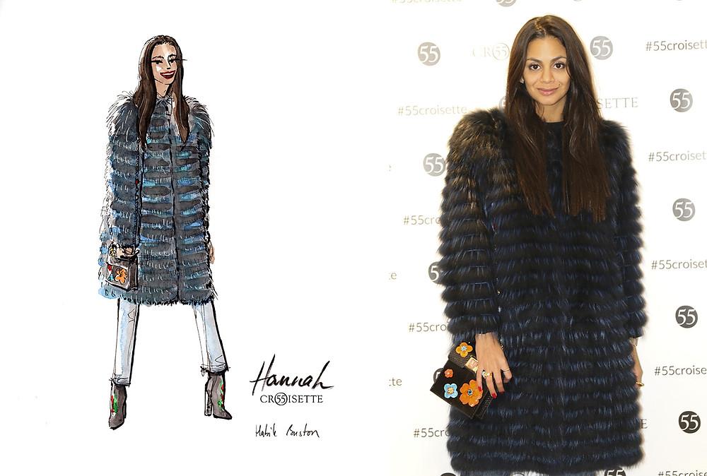 Hannah Romao (avechannah) dessinée par Habile Buston lors de l'évènement au 55 Croisette à Paris. Fashion illustration à l'aquarelle.