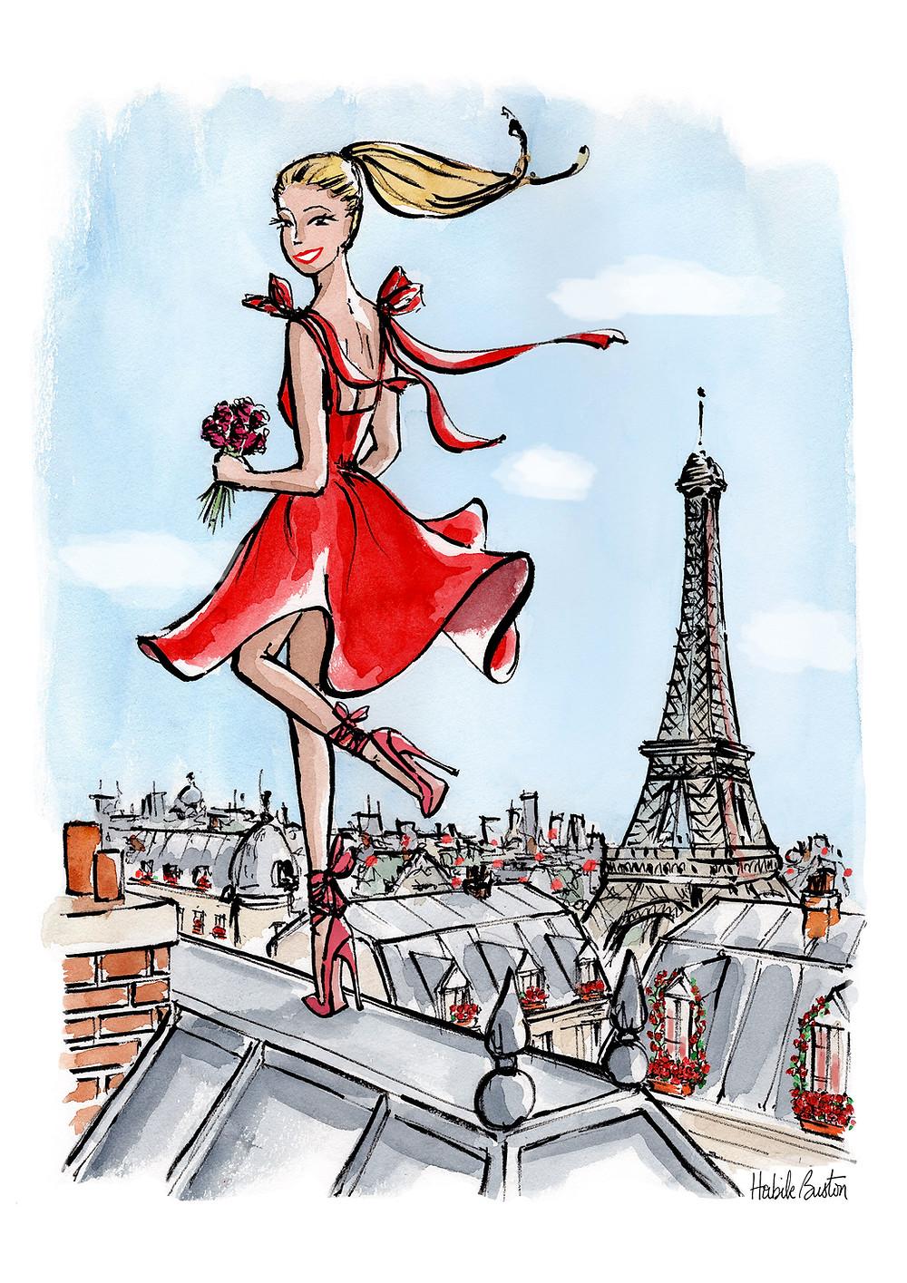 Habile Buston, illustration pour Bourjois Australie. La Parisienne en Rouge Velvet. Illustrateur, Paris.