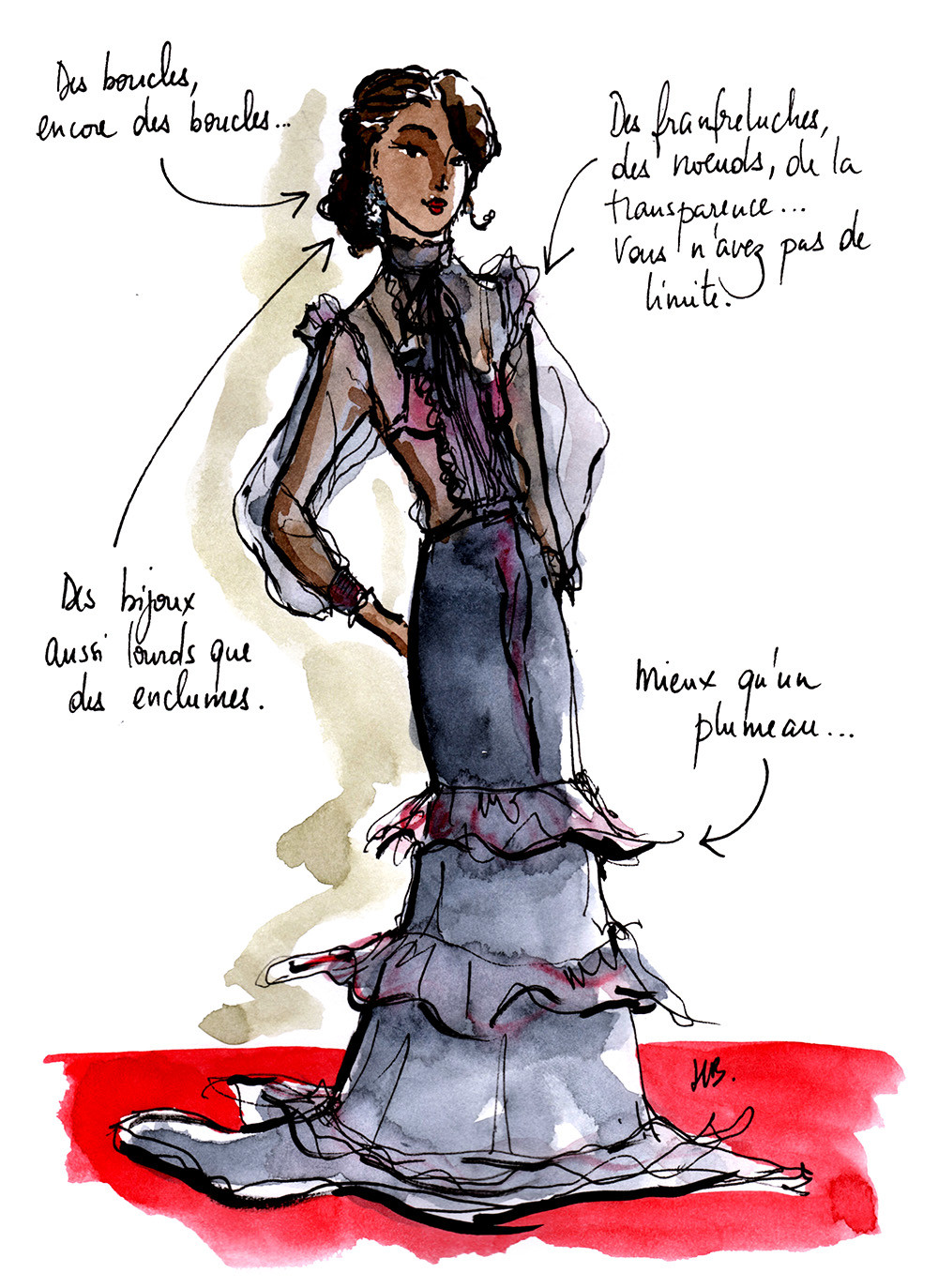 Tenue Festival de Cannes - La romantique - Dessin/Illustration Habile Buston