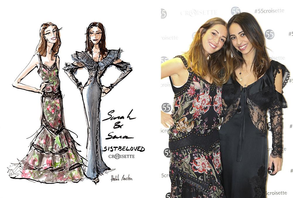 Sarah (speloved) et Sara (saraliscia) de Sistbeloved dessinées par Habile Buston lors de l'évènement au 55 Croisette à Paris. Fashion illustration à l'aquarelle.