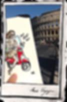 Habile Buston, en voyage à Rome. Illustration dans un carnet, Fille et Vespa devant le Colisée. Illustrateur.