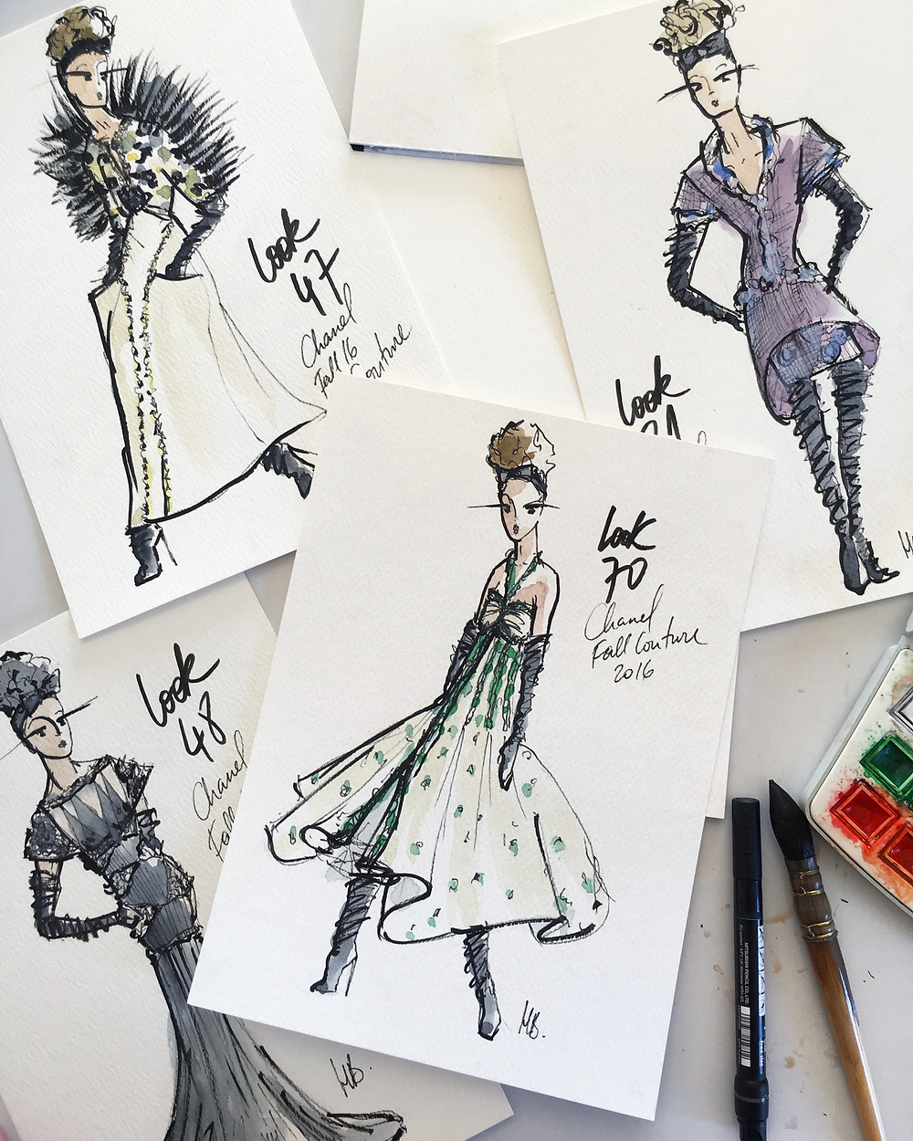 Sketchbook - Chanel Couture Hiver 2016 - Chanel Couture Fall 2016 - Paris - Illustrations Habile Buston