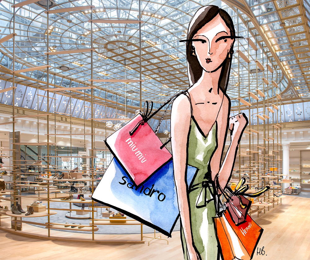 Illustration Habile Buston - Les soldes - Le Bon Marché - Paris - Lifestyle et Culture