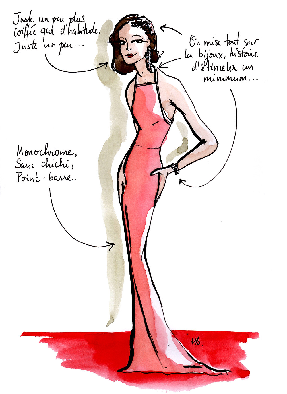 Tenue Festival de Cannes - La minimaliste - Dessin/Illustration Habile Buston