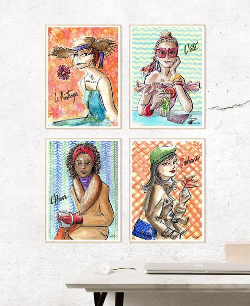 Ensemble d'Affiches - Collection 4 Saisons