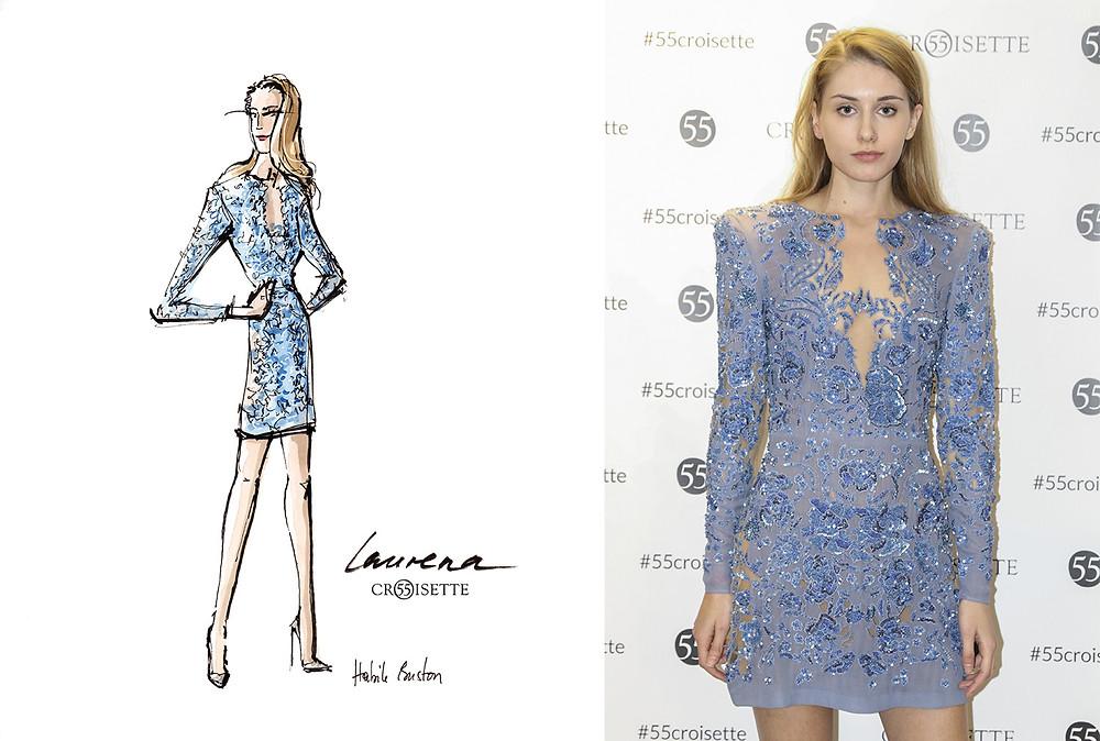 Laurena Ev (laurenaev) dessinée par Habile Buston lors de l'évènement au 55 Croisette à Paris. Fashion illustration à l'aquarelle.