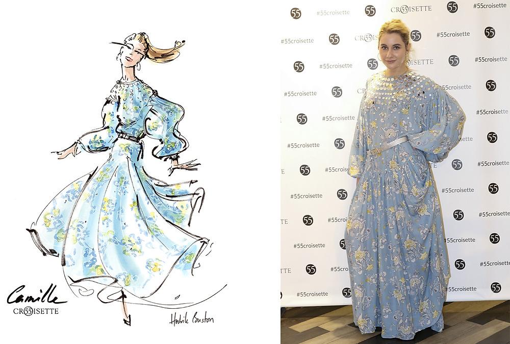 Camille Benaroche (camille et les garcons) dessinée par Habile Buston lors de l'évènement au 55 Croisette à Paris. Fashion illustration à l'aquarelle.