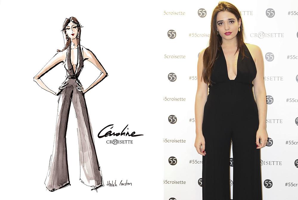 Caroline Scozzaro (alphajourneycs) dessinée par Habile Buston lors de l'évènement au 55 Croisette à Paris. Fashion illustration à l'aquarelle.