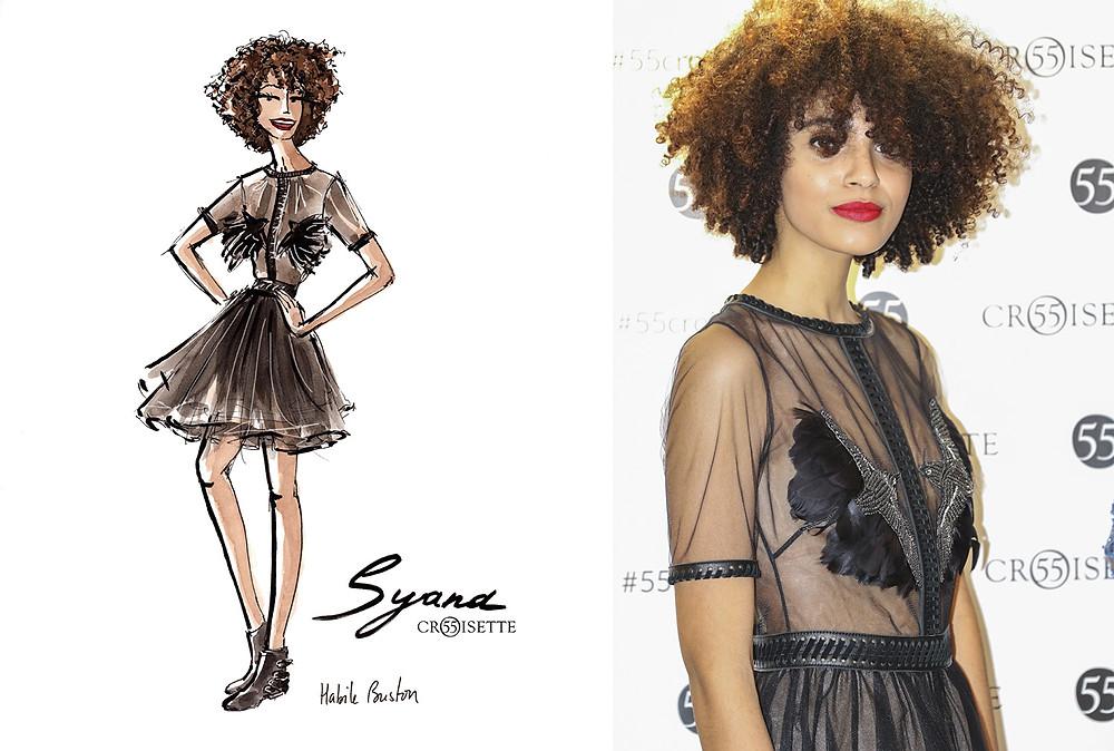 Syana Laniyan (Syana From Paris) dessinée par Habile Buston lors de l'évènement au 55 Croisette à Paris. Fashion illustration à l'aquarelle.