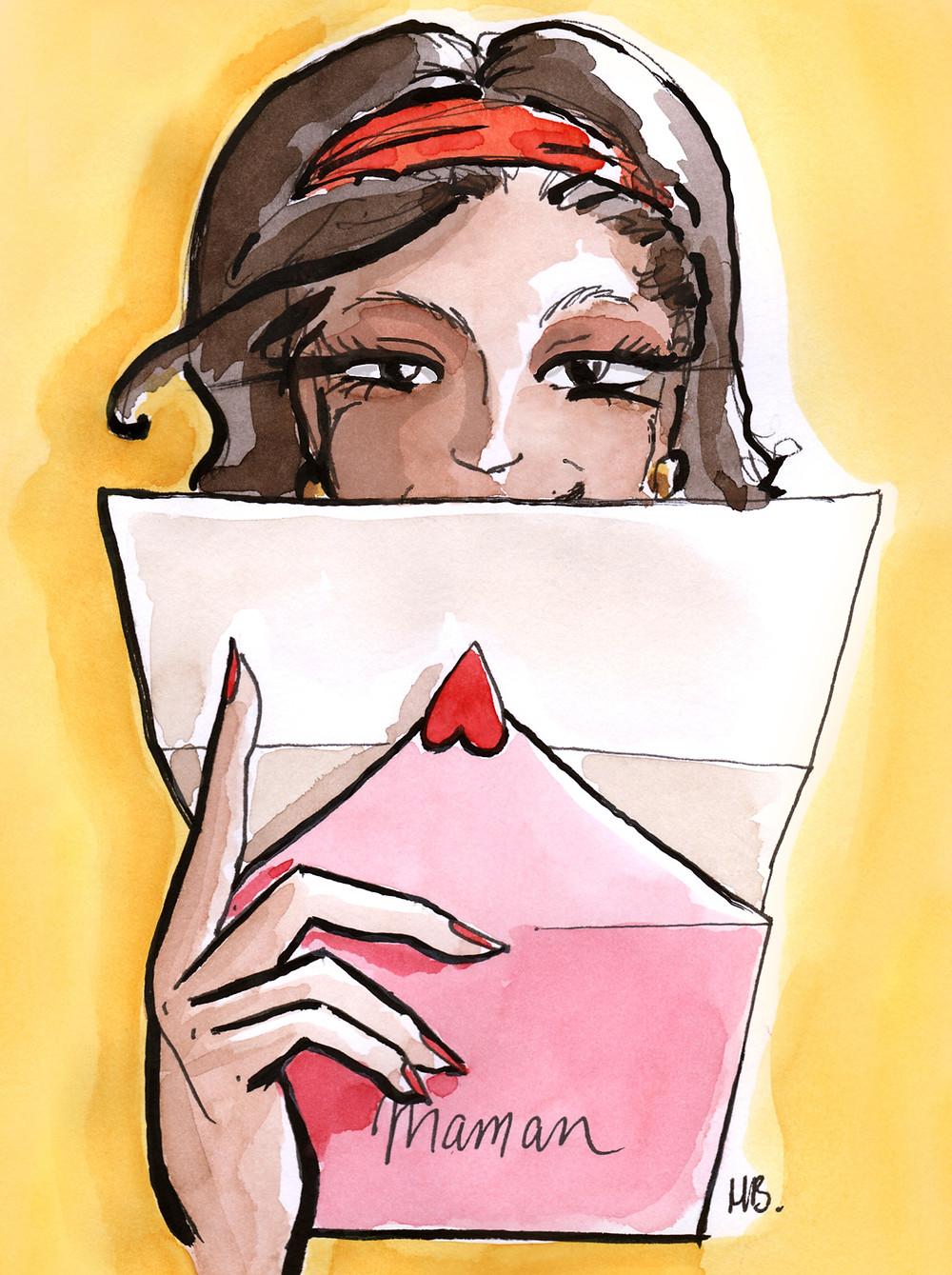 Illustration Habile Buston - Lettre à nos mamans - Fête des mères, aquarelle