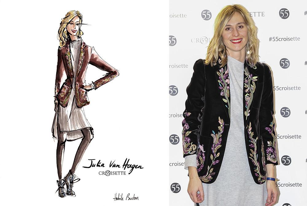 Julia Van Hagen dessinée par Habile Buston lors de l'évènement au 55 Croisette à Paris. Fashion illustration à l'aquarelle.