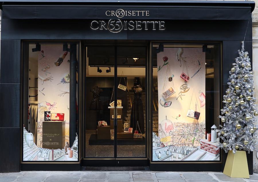Habile Buston - Vitrines 55 Croisette - Design et illustration de Paris pour la collaboration avec Preciously Paris. Visual Merchandising de Luxe.