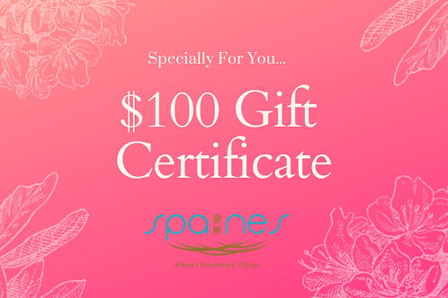 $100 Spa Nes Gift Certificate