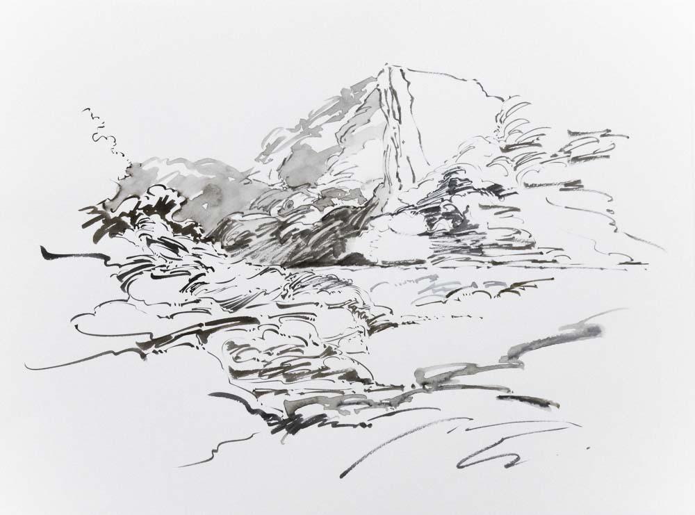 Metalandscape - 15 - Encre indigo sur pa
