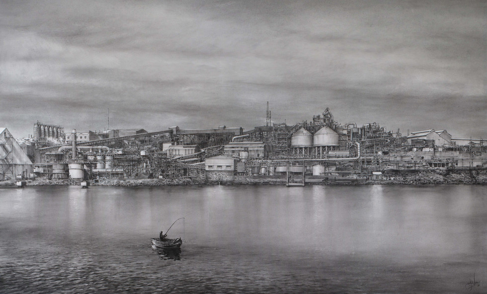Tasie Fishing. Pastel on paper. 150x85cm