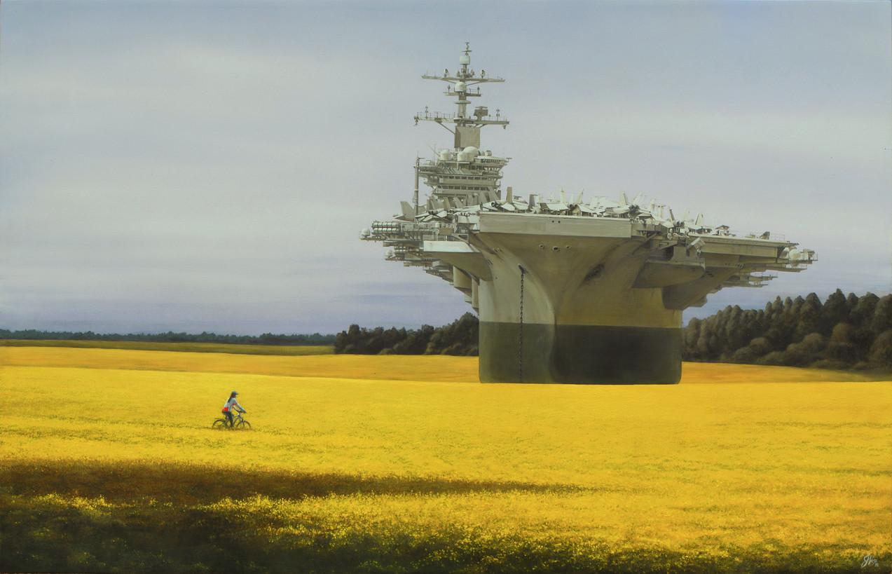 Yellow Weapon. Acrylic on Canvas 90x155cm