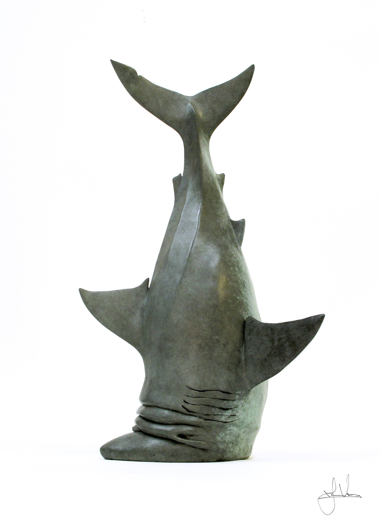 Stubbed Shark. Bronze. 40cm
