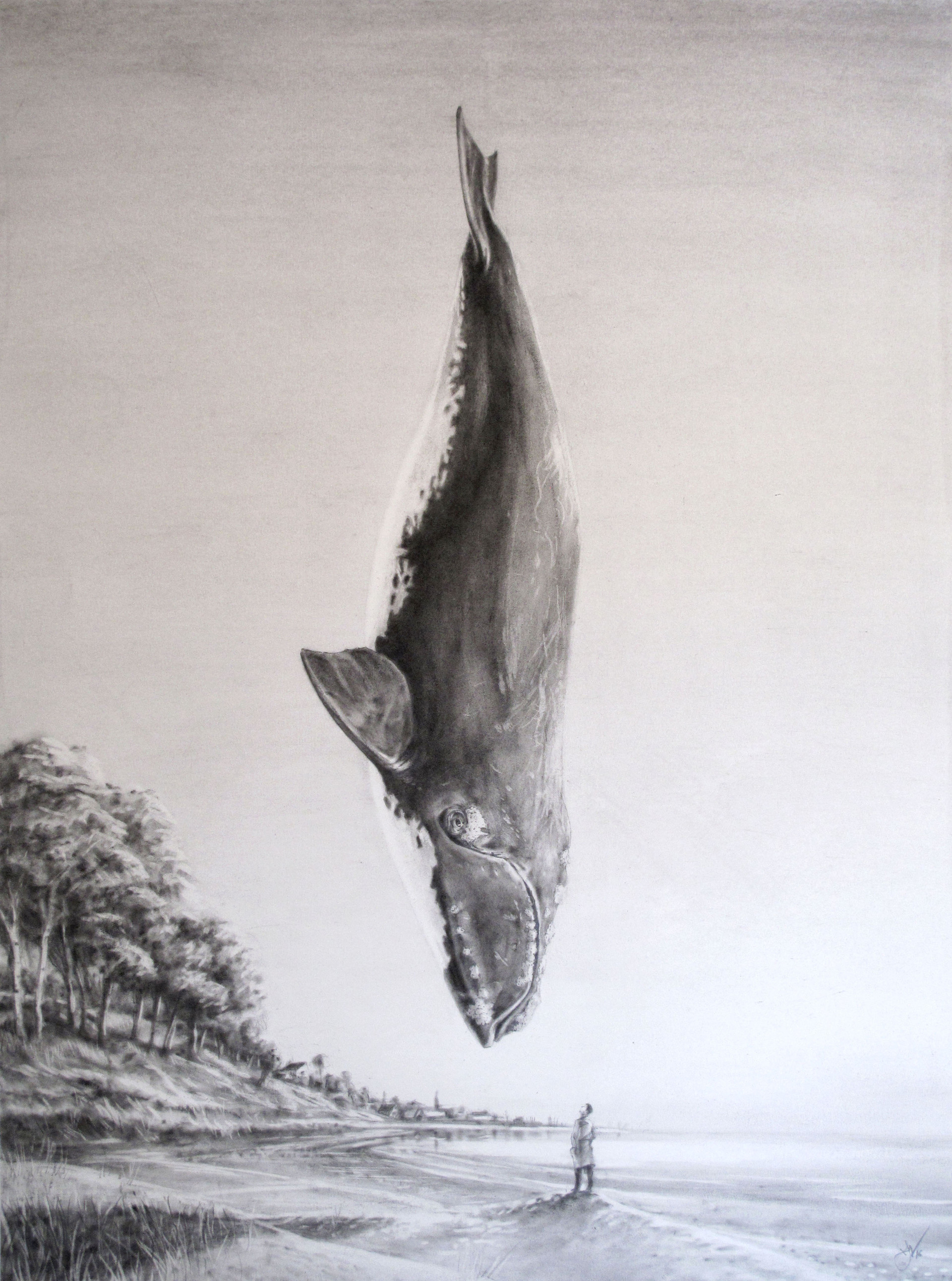 Floating Whale. Pastel on paper 84x65cm