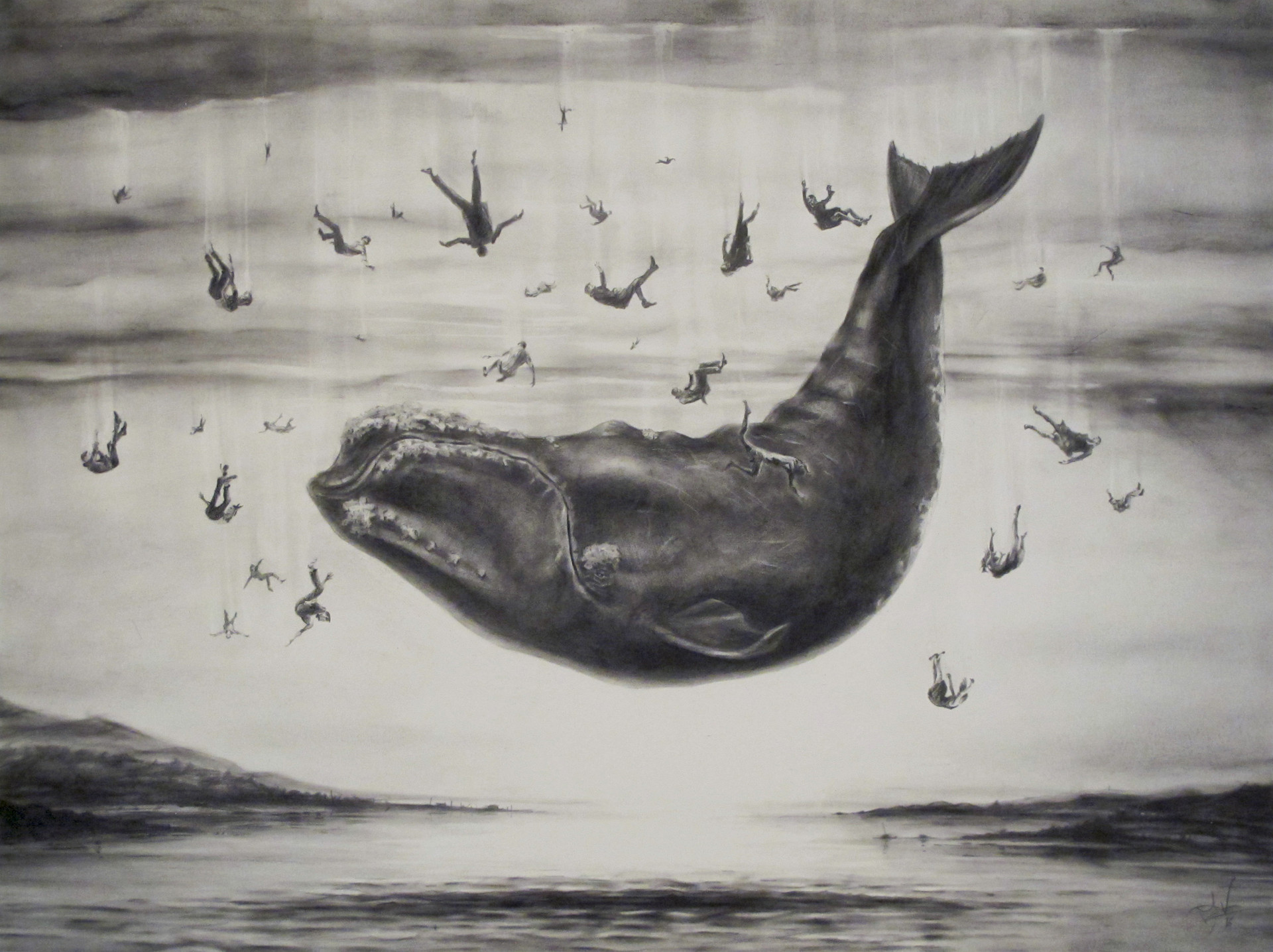 Falling Whale. Pastel & Charcoal on paper 56x72cm