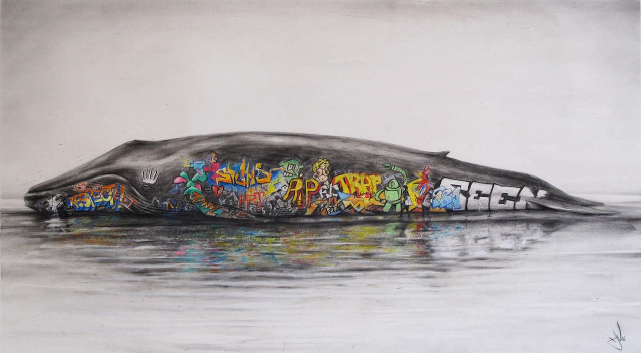 Graffiti Whale. Pastel on paper. 60x72cm
