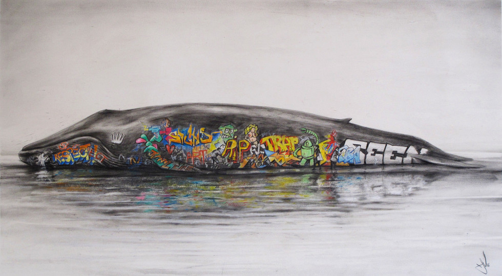 Graffiti Whale. Pastel on paper. 60x72cm