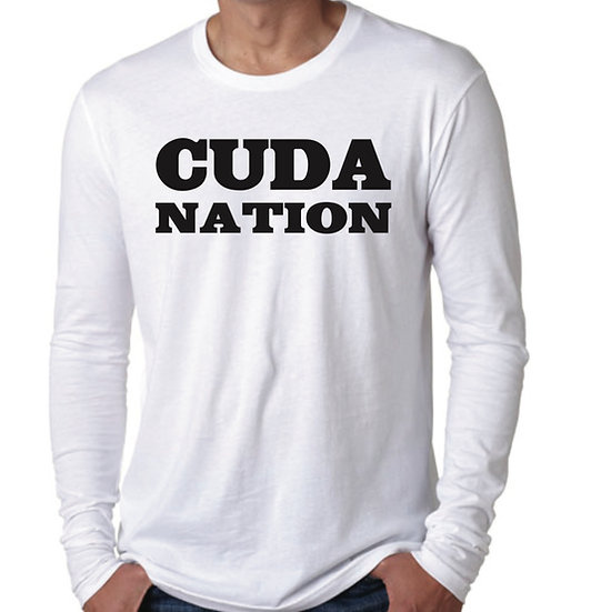 Long sleeve white with black Cuda Nation