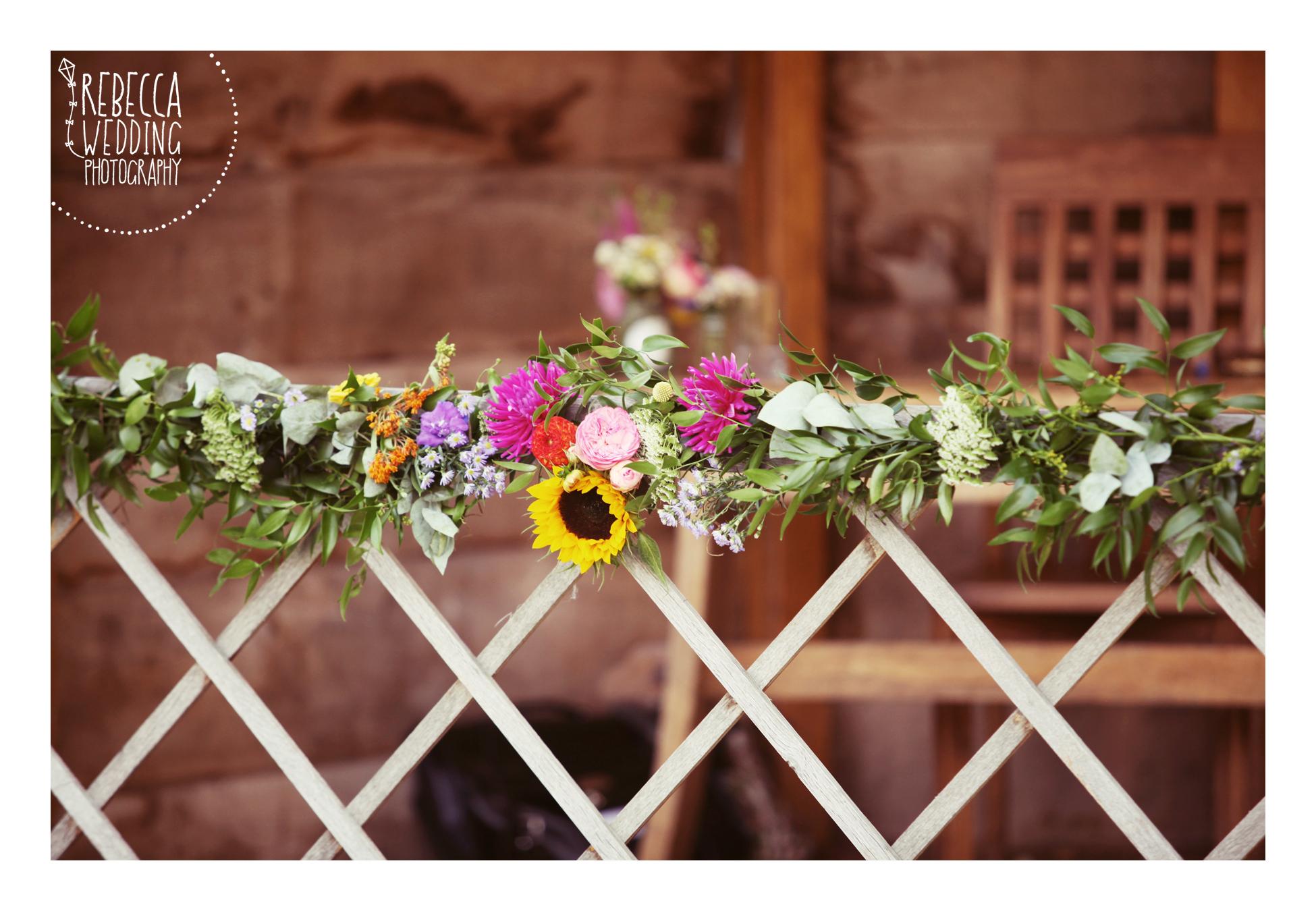 South Farm gazebo flower garland