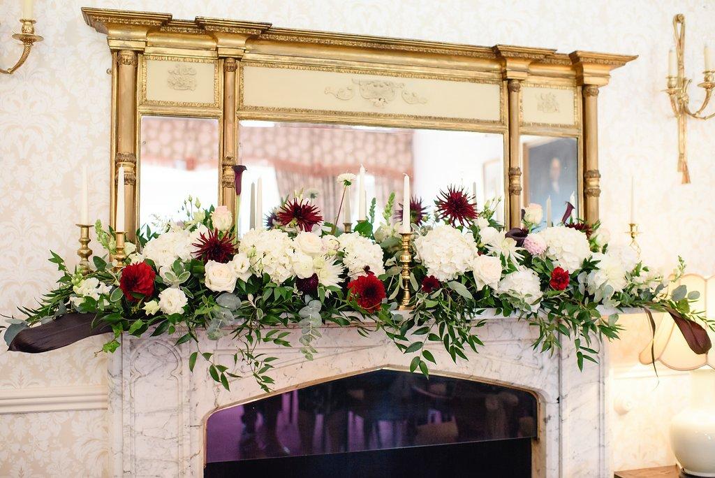 Flitwick Manor mantlepiece flowers