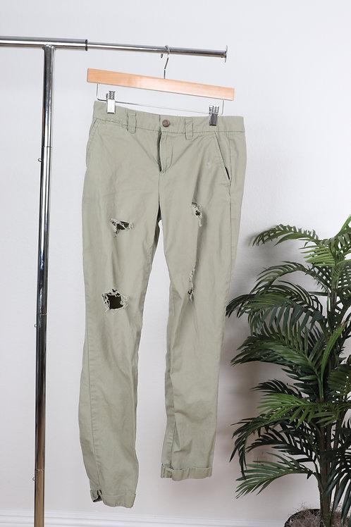 Green Ripped Khaki Pants   00