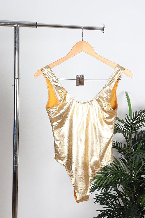 Gold Metallic Back Plunge Body Suit   sm