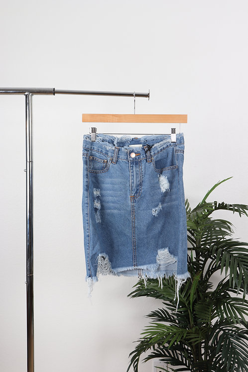 Ripped Jean Skirt | sm