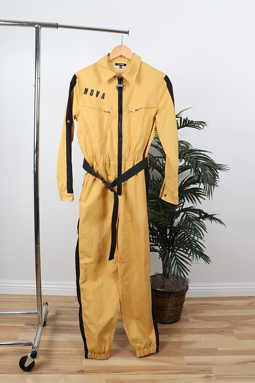 Utility yellow side stripe jumpsuit | Med