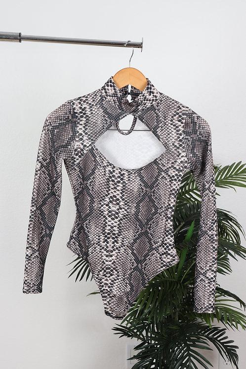 Cutout Snakeskin turtleneck Bodysuit | Sm