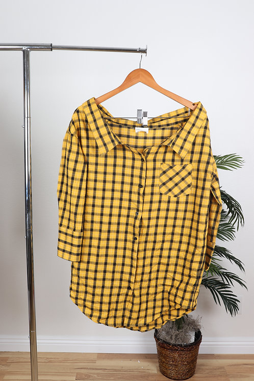 Yellow Checkered Neck Plunge  Dress | Sm