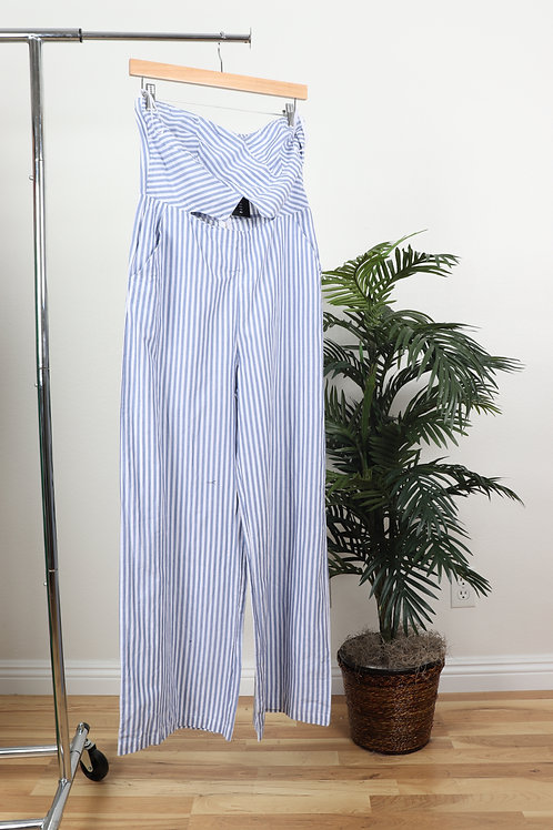 Light Blue pinstripped Cutout jumpsuit | sm
