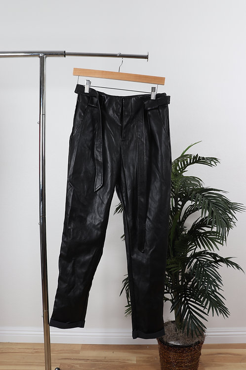 Black Faux Leather High Waisted Trouser | 2