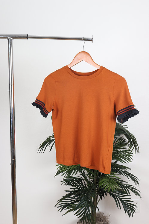 Brown ruffle short sleeve | Sm
