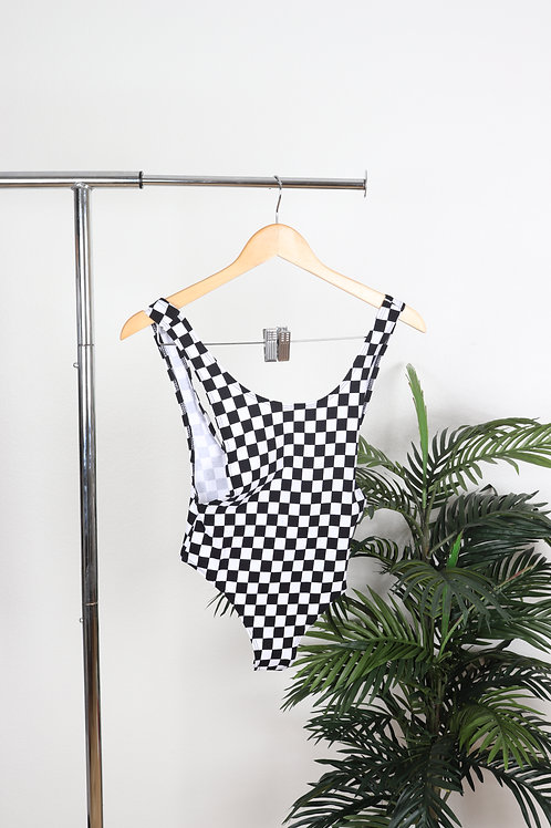 Checkered Side Plunge Body Suit | Sm