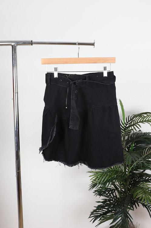 Black Fringe Jean Skirt | Sm