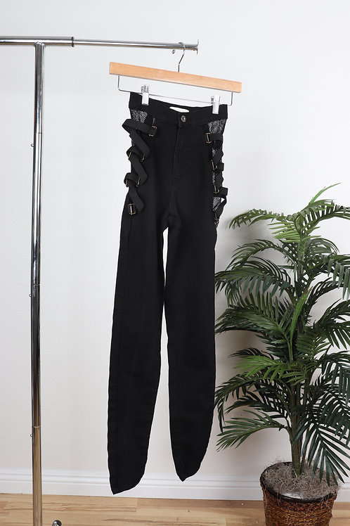Black Side Net/Bandage Jeans | 3