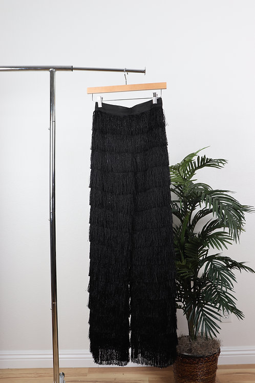 High waitsed black flapper pants | sm
