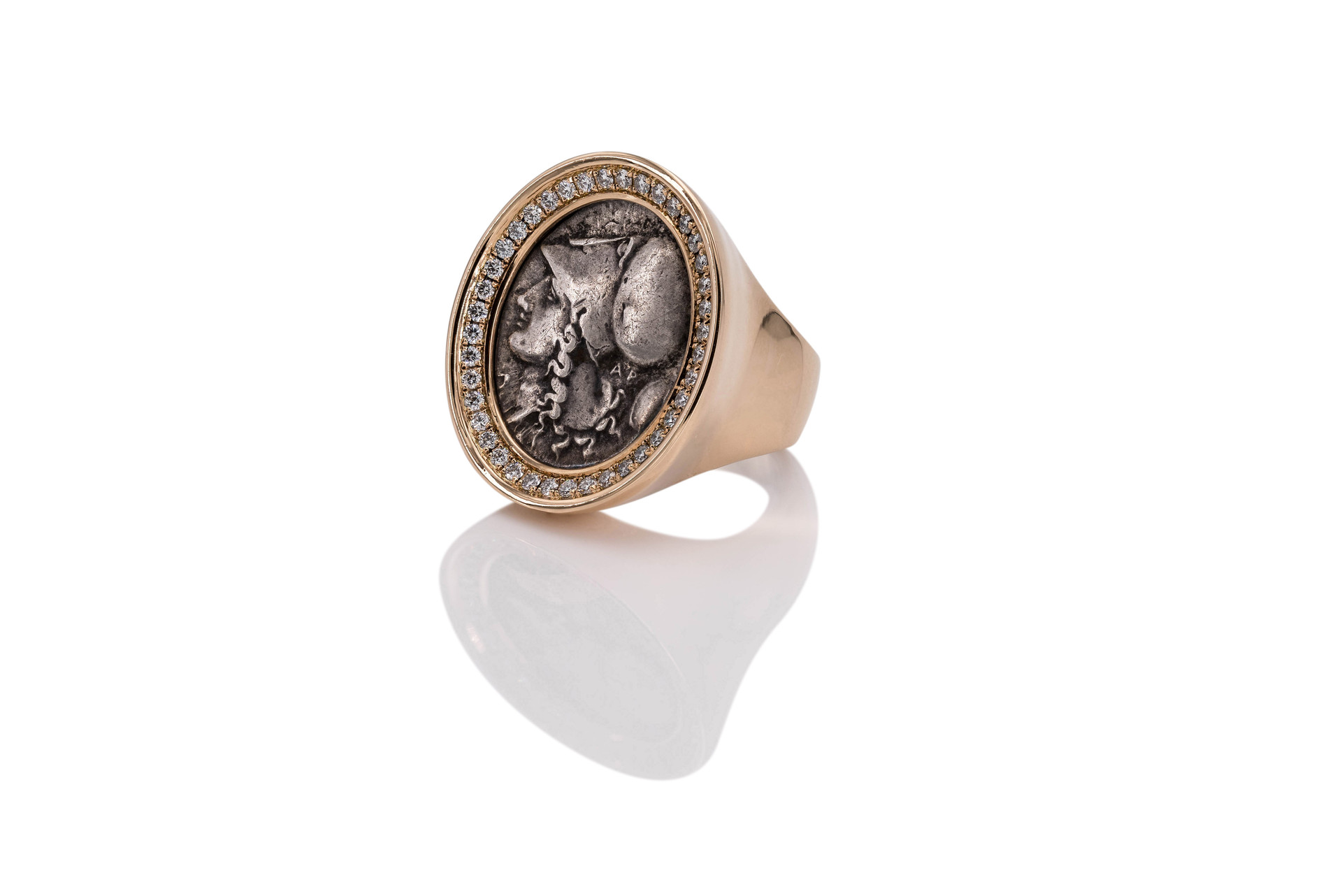 18k GOLD RING | ATHENA | DIAMONDS 40 diamonds 0,55 ct tw-vsi ancient greek coin 325 b.c.  Athena or Athene, is the ancient Greek goddess of wisdom, handicraft, and warfare. In later times, Athena was syncretized with the Roman goddess Minerva.