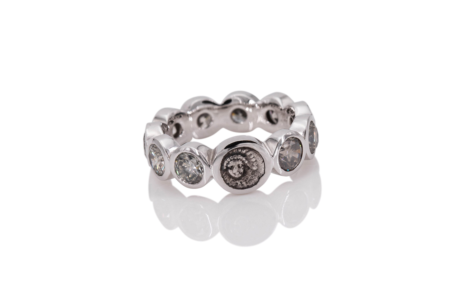 18k GOLD ETERNITY RING | APOLLO 10 diamonds 3,54 ct grey ancient greek coin 385 b.c.  In Greek and Roman mythology Apollo was the god of light, healing, and spring, as well as of the prophecy and the arts.