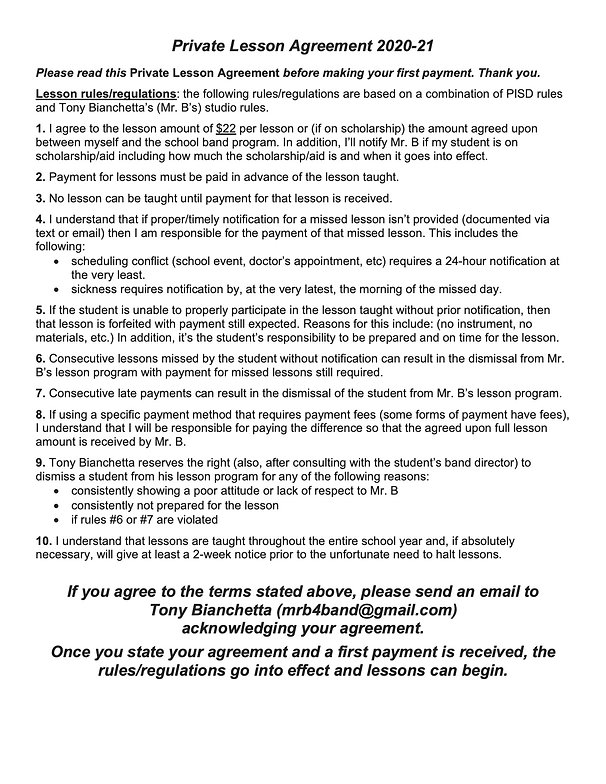 PISD HS Private Lesson Agreement 2020-21