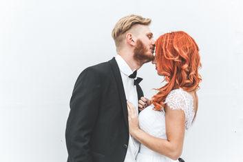 Pre-wedding photo shoot of bride and groom embracing