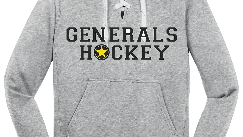 Generals Hockey Glitter Lace Up Hoodie With Name/Number On Back