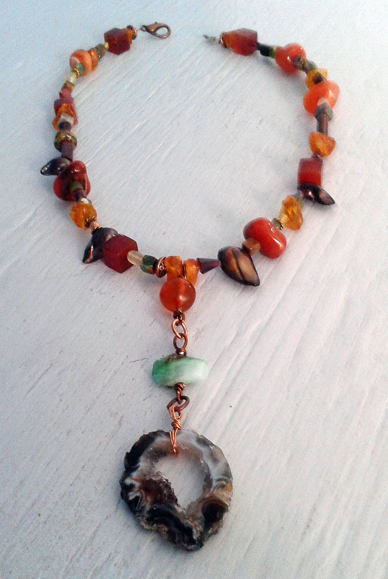 Agate and Chrysoprase Necklace