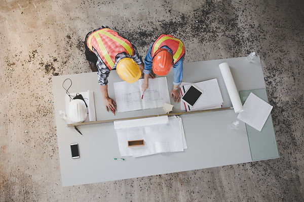 Top view of architects and engineers to
