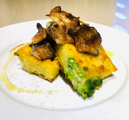Broccoli Polenta with Grilled Oyster Mushrooms by Robin Enotera
